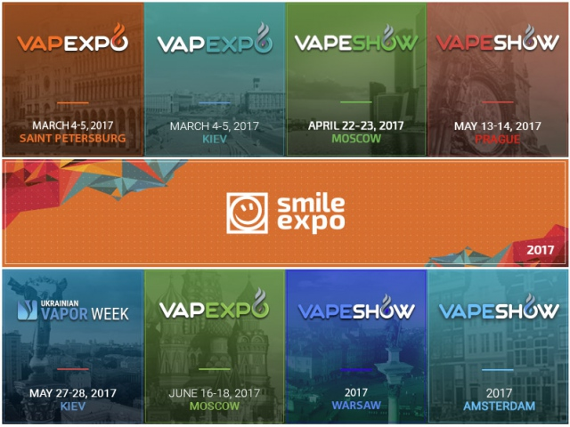 Announcement for 2017: upcoming vape events by Smile-Expo